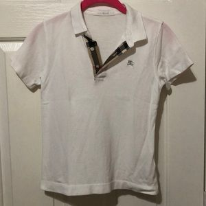 Toddler Boys Burberry white polo